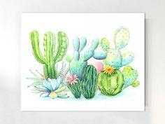 Cactus Print Cactus Wall Art Watercolor Cactus Print Art Print Green Plant Watercolor Painting Tropical Poster Botanical Art Print - All About Art And Illustration, Illustration Cactus, Cactus Painting, Cactus Wall Art, Watercolor Plants, Watercolor Paintings, Painting Art, Image Cactus, Cactus Pictures