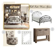"""""""Fall Into Your Space"""" by overstock ❤ liked on Polyvore featuring interior, interiors, interior design, home, home decor, interior decorating, Inspire Q, bedroom, GetTheLook and neutrals"""