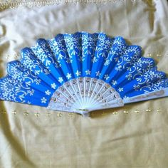 Blue & Gold Fan ⭐️ It's becoming summer time & what better way to cool yourself off than using an elegant fan Accessories