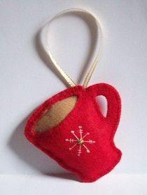 Coffee mug felt ornament (glue mini glittery pom-poms and it is hot cocoa)
