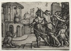 Georg Pencz (1500-50) - Virgil hanging in a Basket (c. 1541-42) engraving; Cleveland Museum of Art