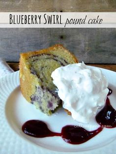 Blueberry Swirl Pound Cake with Lemon Glaze