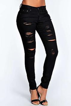 Boohoo: Abby High Rise Heavy Ripped Skinny Jeans