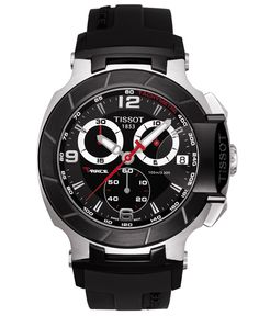 Tissot T-Race men's Swiss made chronograph sport watch has Arabic numbers on black dial, stainless steel case and black rubber strap. Shop Tissot T-Race men's sport watch. Men's Watches, Sport Watches, Luxury Watches, Cool Watches, Watches For Men, Jewelry Watches, Men's Jewelry, Analog Watches, Black Watches