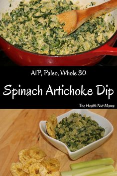 Healthy Snacks For Kids Easy AIP Paleo Artichoke Spinach Dip. Perfect healthy appetizer for entertaining or just as snack. So easy Healthy Snacks List, Healthy Dips, Vegan Snacks, Eating Healthy, Paleo Appetizers, Easter Appetizers, Spinach Artichoke Dip, Whole 30 Recipes, Paleo Recipes
