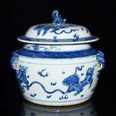 Korea, 19th C Blue and White Jar with Buddhist Lions Playing Balls with Elephant Ears