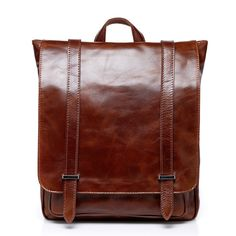 077e769435e5 Luxury Shining Oil Wax Genuine Cow Leather Men Backpack Perfect Quality  Vintage School Bag Fashion Backpack
