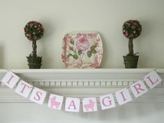 It's A Girl Banner Sign Handpainted Pink Carriages Baby Shower Birth Announcement  Ready to ship - pinned by pin4etsy.com