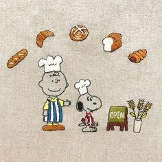 bakery shop * パン工房をオープンされる方からオーダーいただきました。 * * #snoopy #peanuts #embroidery #handembroidery #CharlieBrown #スヌーピー #ピーナッツ #刺繍