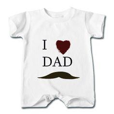 I Love Dad Mustache  Baby T-Romper  Short sleeve t-shirt romper for babies. 100% cotton , Brand: Rabbit Skins    Details    I Love Dad Mustache