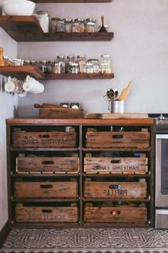 diy kitchen This is how you re-purpose old furniture. Try using kitchen drawers instead of cabinets to hold your kitchen items. They often result in more storage space in a somewhat tiny home. Kitchen drawers vs cabinets Its a no-brainer Kitchen Items, Eclectic Kitchen, Kitchen Remodel, Kitchen Decor, Trending Decor, Diy Kitchen, Rustic Kitchen, Kitchen Renovation, Shabby Chic Kitchen
