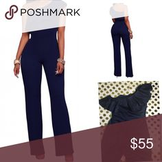 Navy Blue One Shoulder Jumpsuit Ruffle detail along the neckline, it's bodycon fit on top and hip wide leg pants Side zipper for easy to wear. US 8-10 M Pants Jumpsuits & Rompers