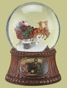 7 Musical Animated Santa Claus Sleigh on Roof Christmas Snow Globe Glitterdome