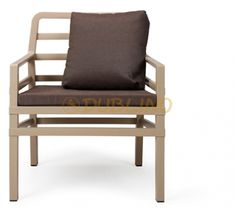 Nardi Aria Arm Chair with Cushion Color: Havana with Caffee Cushions Patio Chairs, Outdoor Chairs, Outdoor Furniture, Outdoor Decor, Outdoor Seating, Outdoor Spaces, Contemporary Outdoor Lounge Chairs, Corner Chair, Wood Pieces