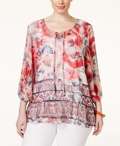 Style & Co. Plus Size Printed Peasant Blouse, Only at Macy's