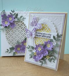 Flowers, Ribbons and Pearls: Lilac and Lemon Card & Box Butterfly Cards, Flower Cards, Handmade Birthday Cards, Greeting Cards Handmade, Heartfelt Creations Cards, Tattered Lace Cards, Purple Cards, Beautiful Handmade Cards, Card Making Inspiration