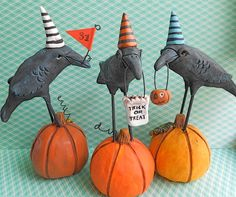 Halloween crows from clay (Etsy)