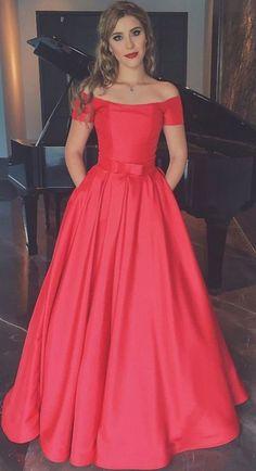 Prom Dresses,Long Prom Dress,Off the Shoulder Prom Dress,Red Satin Evening Dress A-line Prom Dress