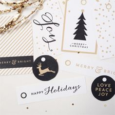 Free printable holiday gift tags! (2 versions: black & gold and red & green)