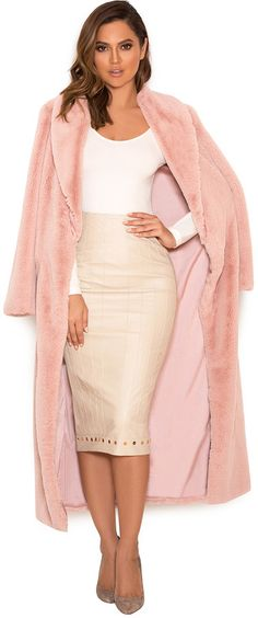 'Fiore' Blush Faux Fur Full Length Coat