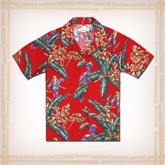"Magnum PI ""Red Jungle Bird"" Hawaiian Shirt by Paradise Found - Red - Coconut Buttons 