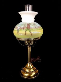 Fenton Limited Edition Hand Painted Golf Lamp Burmese Art Glass Hurricane Shade