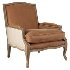 Burford French-Style Leather & Oak Armchair - Brown. OKA