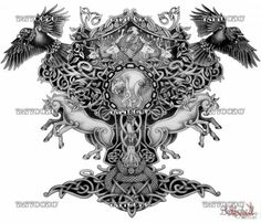 "Winning design for ""Yggdrasil (Norse mythology) half-sleeve""   Tattoodo.com"