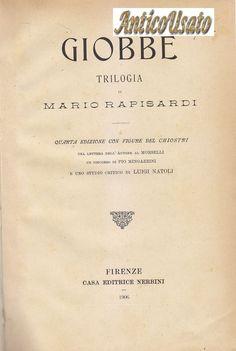 GIOBBE trlogia Mario Rapisardi 1906 Nerbini belle illustrazioni Carlo Chiostri
