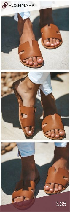 """New tan slip on slides sandals These sandals are Elite to say the least! We love the designer vibe of our new Elite Sandals that are faux leather through the upper with a tan sole. Sport these all summer long - so comfortable and casual. Faux Leather Height: .25"""" Fit: True To Size. Size up if you're in between sizes! ✨PRICE FIRM✨ Shoes Sandals"""