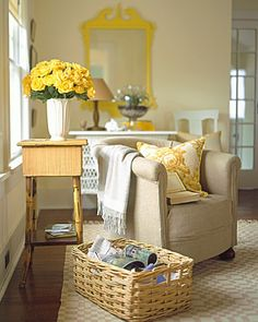 I like the creamy wall with the yellow on the wooden picture rail