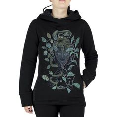 Womens psytrance hoodie, ganesh and flower of print design by Symbolika, geometric face print in jungle, trance festival clothes