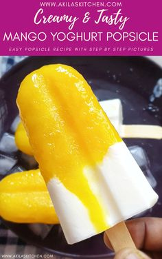 Mango Yoghurt popsicle is such a tasty popsicle recipe which has a very unique taste with sweet taste of mangoes and little tangy taste of thick yoghurt Mango Recipes, Ice Cream Recipes, Sicilian Recipes, Sicilian Food, Mango Yoghurt, Mango Popsicles, Tasty, Yummy Food, Popsicle Recipes