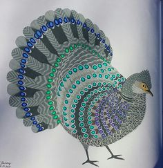 Beautiful Birds and Treetop Treasures by Millie Marotta. Colored by Tammy L Beard. 10-16-2017. Grey Peacock Pheasant.