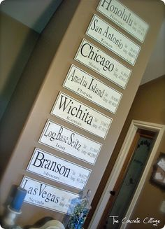 DIY Personalized latitude and longitude signs for places you've lived and or visited. Love this!