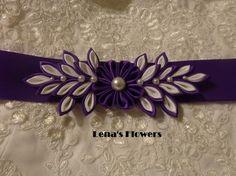 Handmade Satin Bridal Kanzashi Flower Sash. Purple And White.