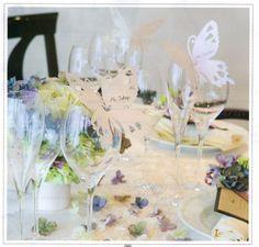 席札としても使えます!蝶のグラスカード10枚セット<シェリーマリエ・ウェディング演出アイテムコーナー>