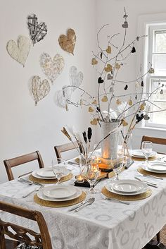 Modern Wintery Valentine's Day Tablescape