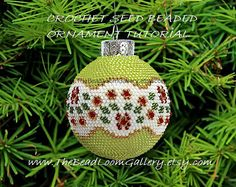 Beaded Christmas Ornament or Ball with von thebeadloomgallery