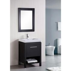 Design Element New York 24 in. W x 19 in. D Vanity in Espresso with Integrated Porcelain Vanity Top and Mirror in White-DEC091A - The Home Depot