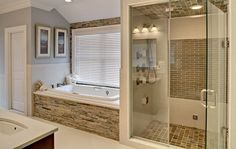 I like the shower and tub side by side. I like the stone accent. Would look good…