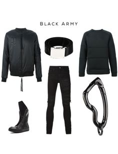 Black Army Fashion Collection   Clockwise: Zipped bomber jacket byARMY OF ME,Military square-buckle canvas belt by Givenchy,Paneled sweatshirt byARMY OF ME, Arcus Carabiner in Crome Noir finish by SVORN, Distressed skinny jeans byAMIRI,Leather Sneaker Boots by rick owens