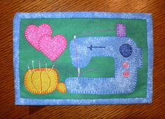Sewing Machine Mug Rug pattern $3.00 on Craftsy at http://www.craftsy.com/pattern/quilting/home-decor/sewing-machine-mug-rug/60254