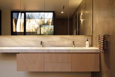 cabinetry layout - drawers in middle, cupboards either side. Spas, Mcm House, Bathroom Toilets, Bathrooms, Bathroom Inspiration, Bathroom Ideas, Residential Architecture, Bathroom Renovations, Powder Room
