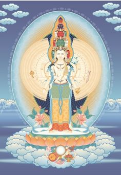 Avalokiteshvara - Here he has eleven faces – the ten faces of his emanations of…
