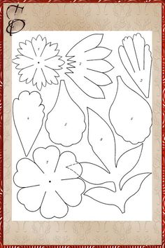 Flower petals and leaves pattern 3d Templates, Leaf Template, Flower Template, Clay Flowers, Fabric Flowers, Paper Flowers, Diy Paper, Paper Art, Paper Crafts