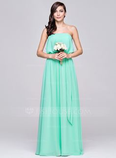 [US$ 87.49] A-Line/Princess Strapless Floor-Length Chiffon Bridesmaid Dress With Ruffle (007057104)