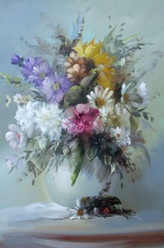 20 Beautiful Bouquet and Flower Oil Paintings by Szechenyi Szidonia – Best Painting Oil Painting Flowers, Oil Painting On Canvas, Watercolor Flowers, Watercolor Paintings, Flower Paintings, Art Oil Paintings, Art Flowers, Diy Painting, Colorful Paintings