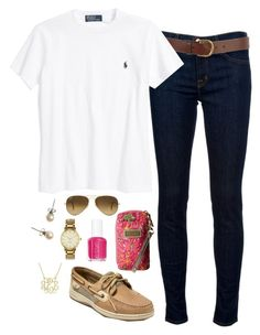 """""""Ootd"""" by classicallypreppyy ❤ liked on Polyvore featuring J Brand, J.Crew, Warehouse, Ralph Lauren, Ray-Ban, Sperry Top-Sider, Kate Spade, Lilly Pulitzer and Essie"""