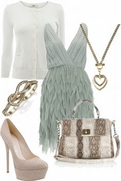Feather green dress and snakeskin handbag #outfit #style
